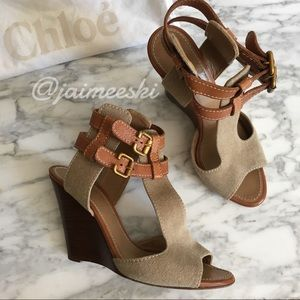 CHLOE Canvas and Leather Wooden Wedge Sandal